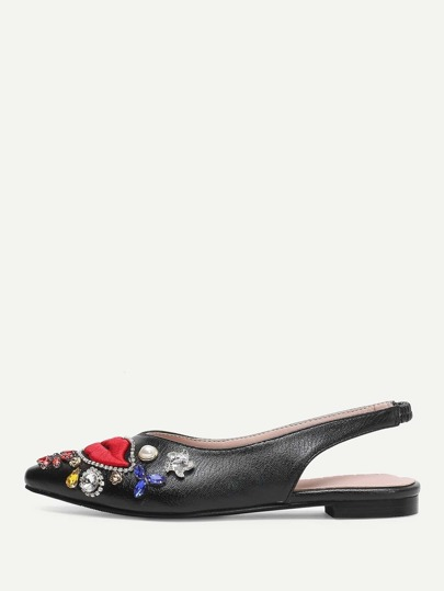 Lips Embroidered Jewelled Slingback Flats