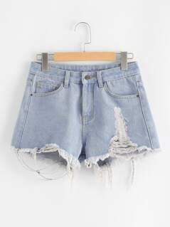 Light Wash Frayed Denim Shorts