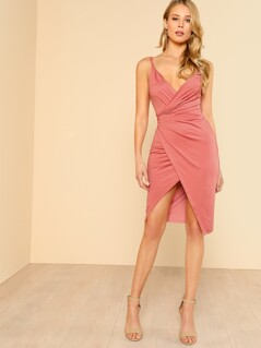 Low Back Surplice Cami Dress