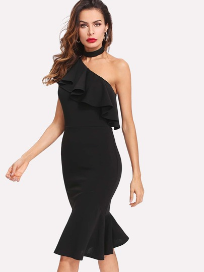 Ruffle One Shoulder And Hem Dress