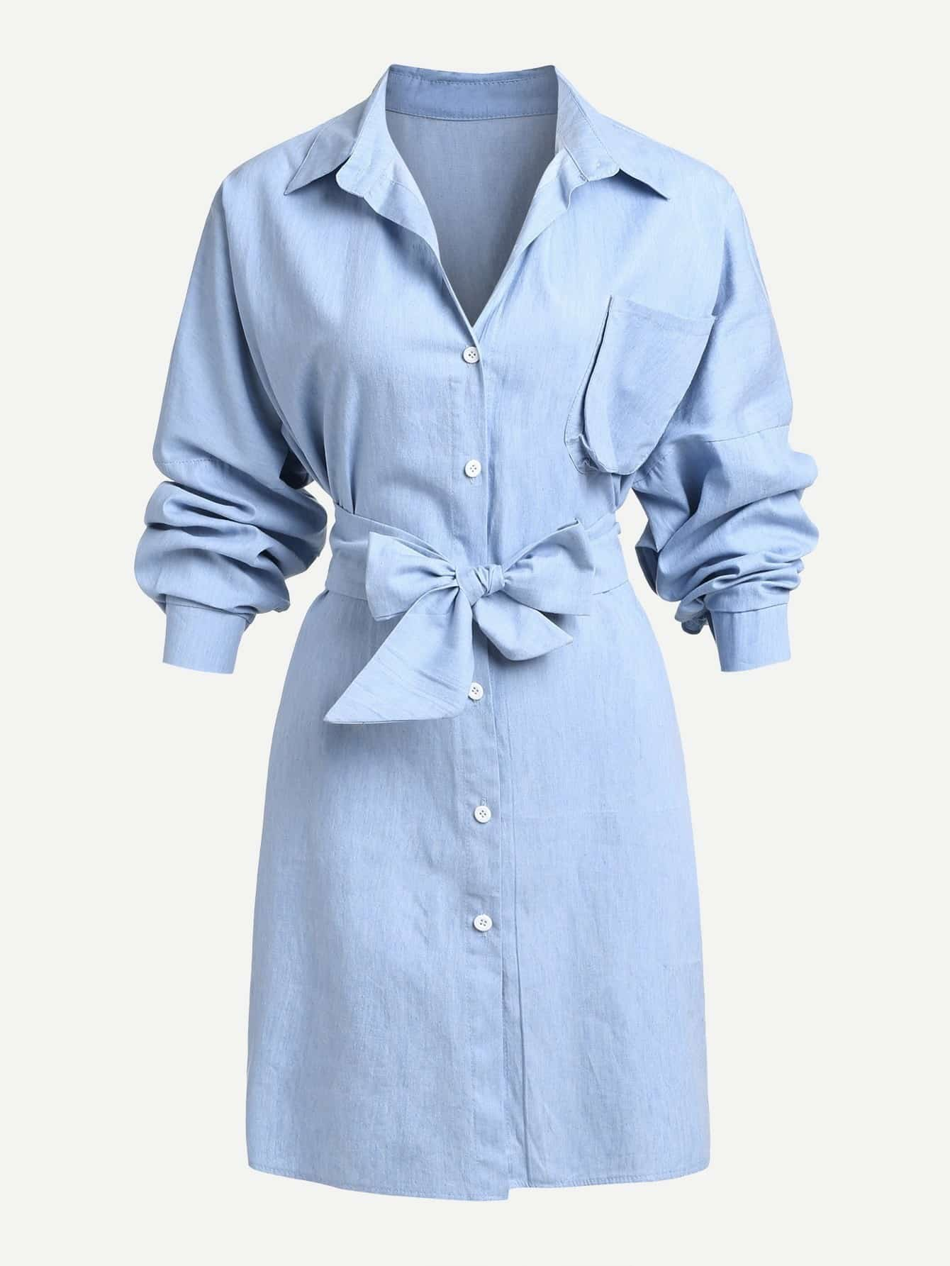 Image of Pocket Front Bow Tie Front Denim Dress