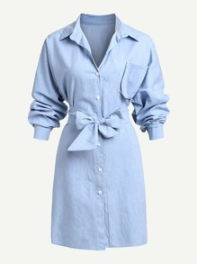 Pocket Front Bow Tie Front Denim Dress