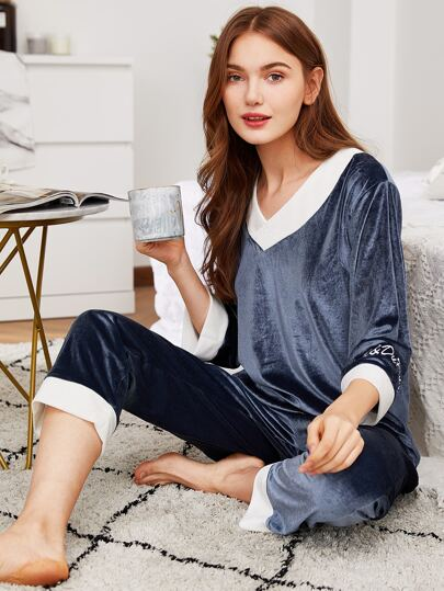 Letter Embroidered Plush Top & Pants PJ Set