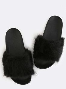 Fluffy Faux Fur Sandals BLACK
