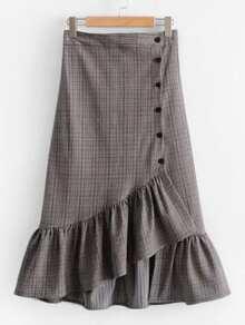 Falda de cuadros con botón