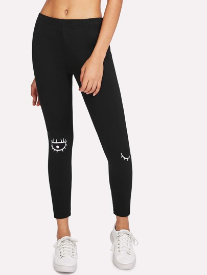 Schmale Leggings mit Augenmuster