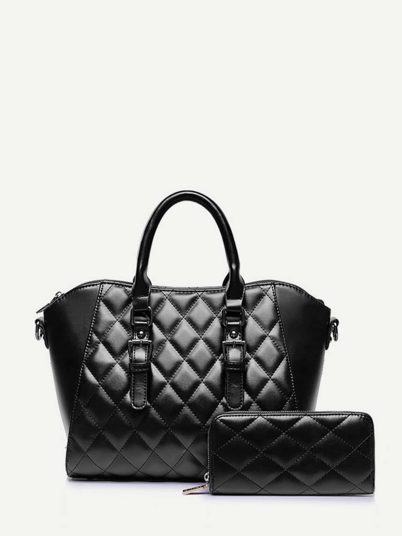 Double Buckle Quilted Tote Bag With Purse -SheIn(Sheinside) : quilted tote bag - Adamdwight.com