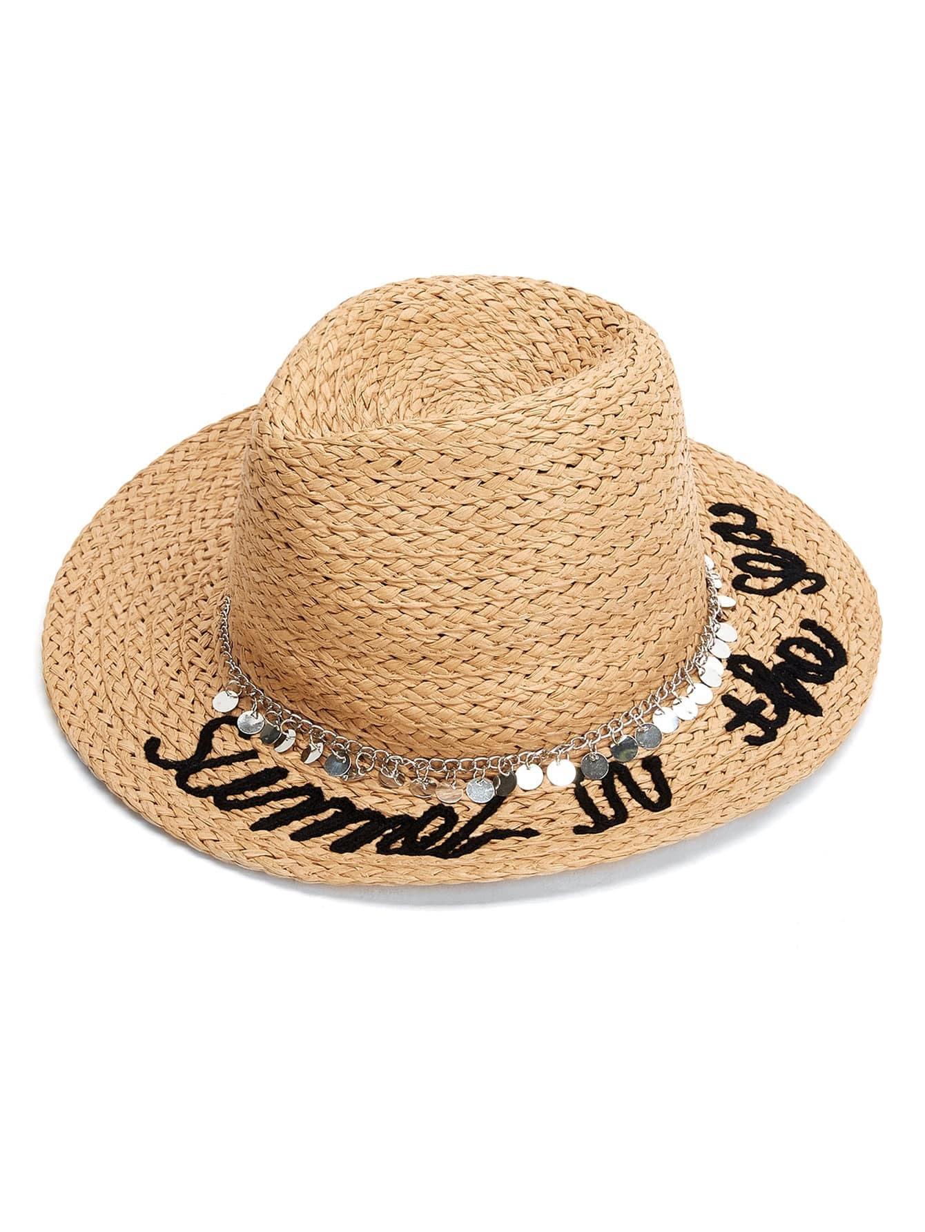 Chain Decorated Straw Fedora Hat