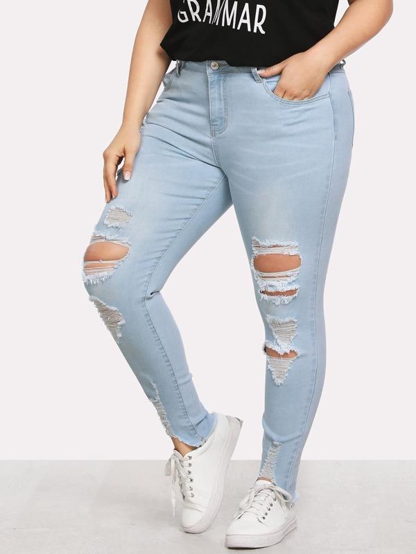 Faded Wash Asymmetrical Raw Hem Ripped Jeans by Shein