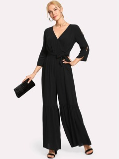 Ruffle Flared Hem Surplice Wrap Jumpsuit