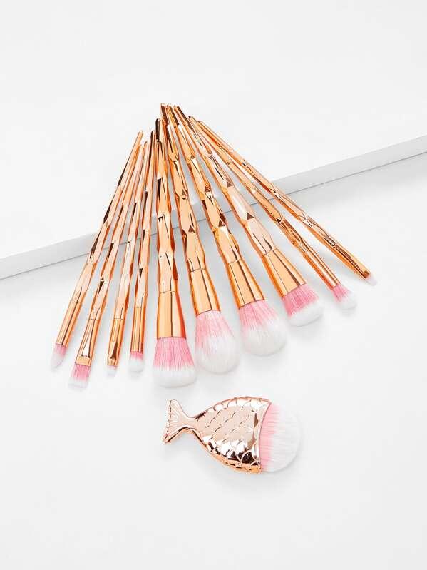 Diamond Shaped Handle Makeup Brush 11pcs, null