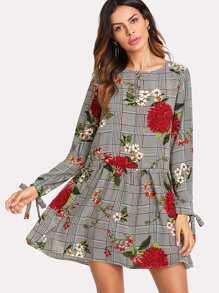 Tie Cuff Floral And Plaid Drop Waist Dress