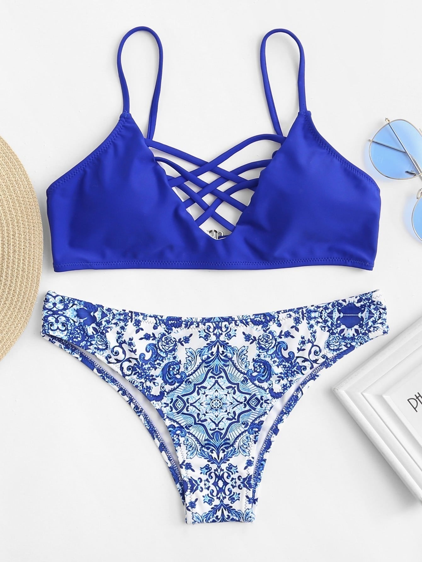 Criss Cross Front Porcelain Print Bikini Set criss cross ruffle bikini set