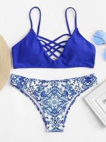 Criss Cross Front Porcelain Print Bikini Set