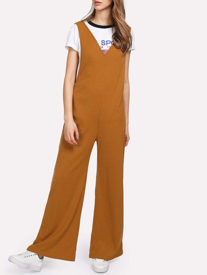 V Neck Flare Hem Sleeveless Jumpsuit