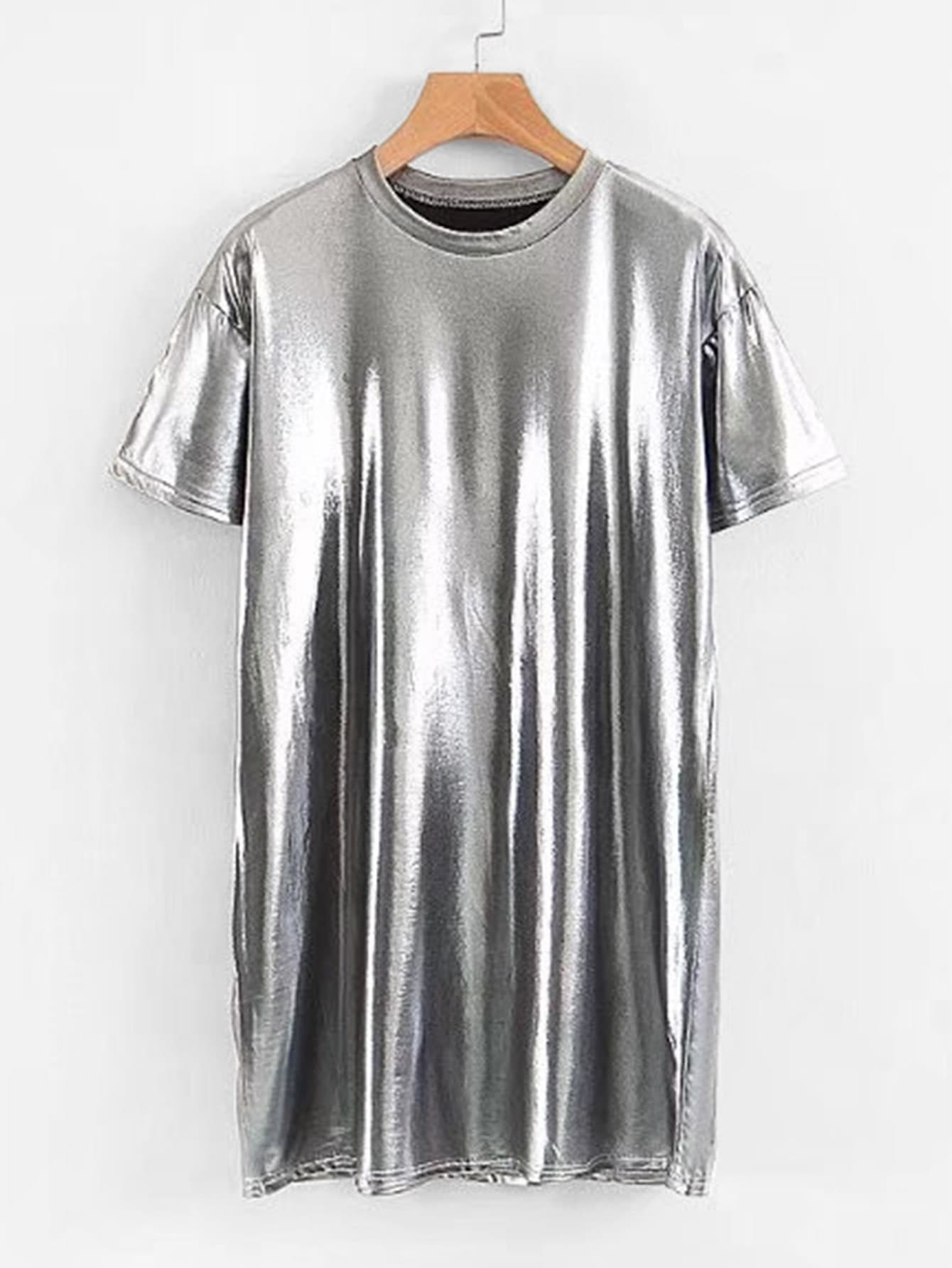 Metallic Tee Dress metallic stretchy slimming tee