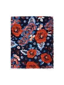 Flower Print Frayed Trim Scarf