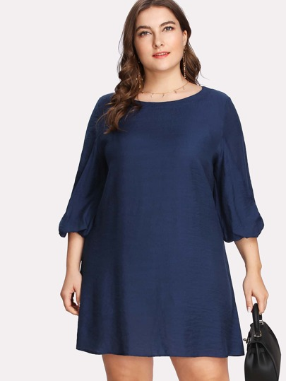 Bishop Sleeve Solid Tunic Dress