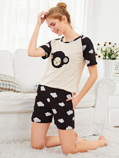 Ensemble de pyjama tee-shirt brodé de mouton & Shorts