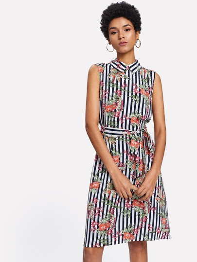 Mixed Print Belted Dress