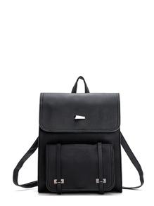 Pocket Front Square PU Satchel Backpack