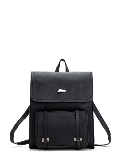 Pocket Front Square PU Satchel Backpack