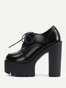 Round Toe Lace Up Platform Heels