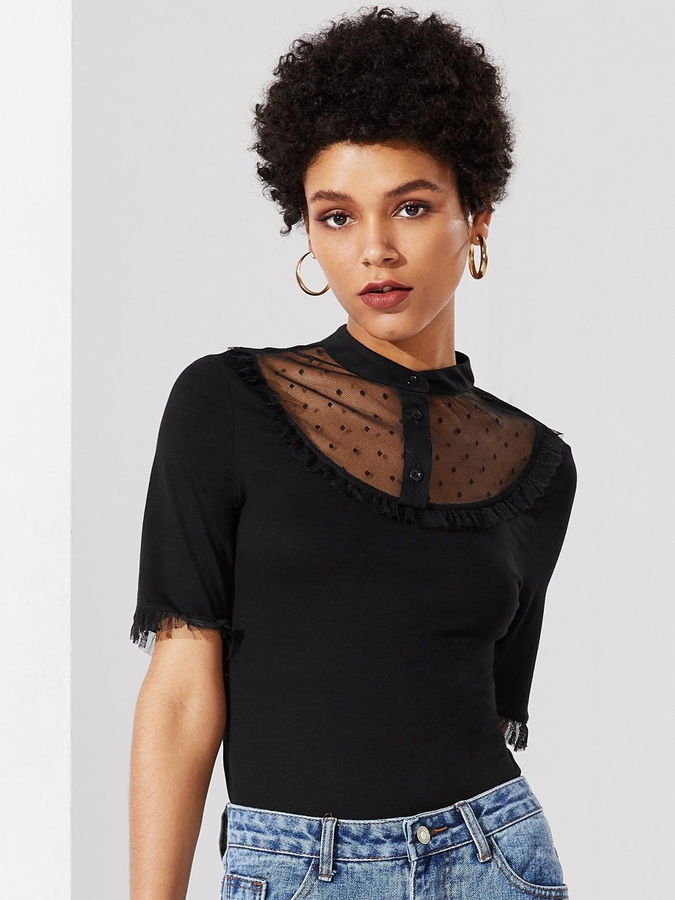 Mesh Insert Frill Detail Tee frill sleeve tape detail sweatshirt