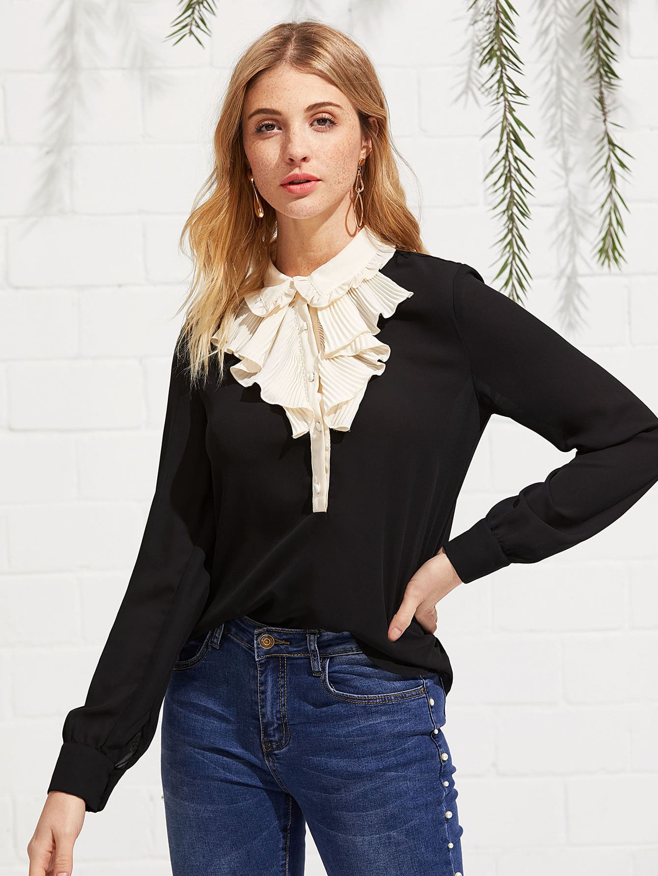 Contrast Pleated Collar Frill Detail Top frill detail crochet insert embroidered mesh top