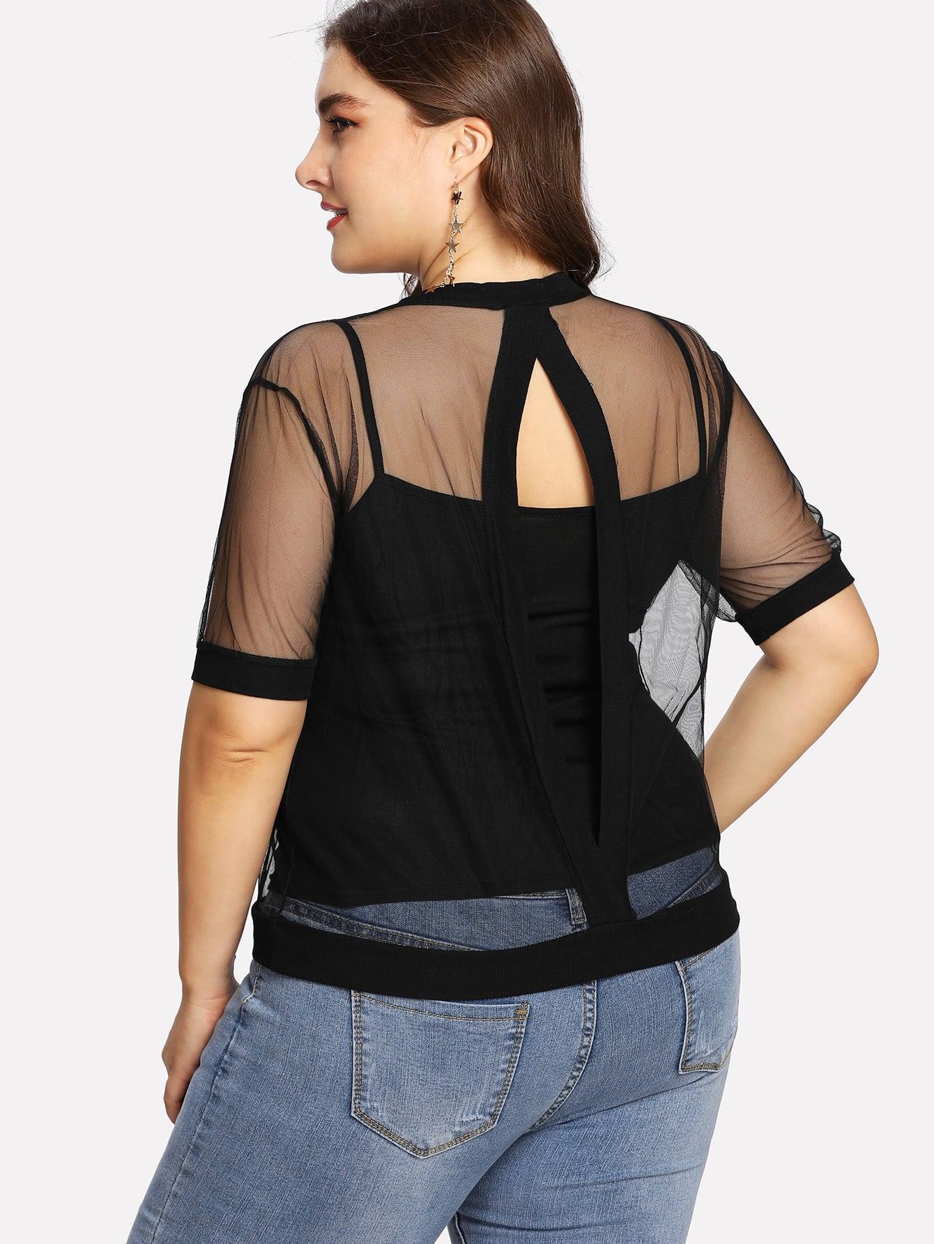 Купить Модная футболка с сетчатой вставкой и модный топ на бретельках, Franziska, SheIn