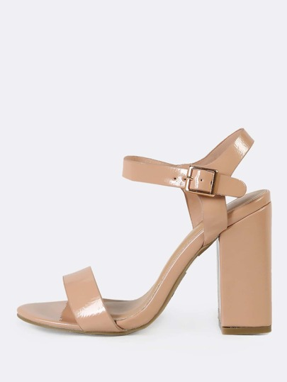 Patent Single Band Ankle Strap Chunky Heel NUDE