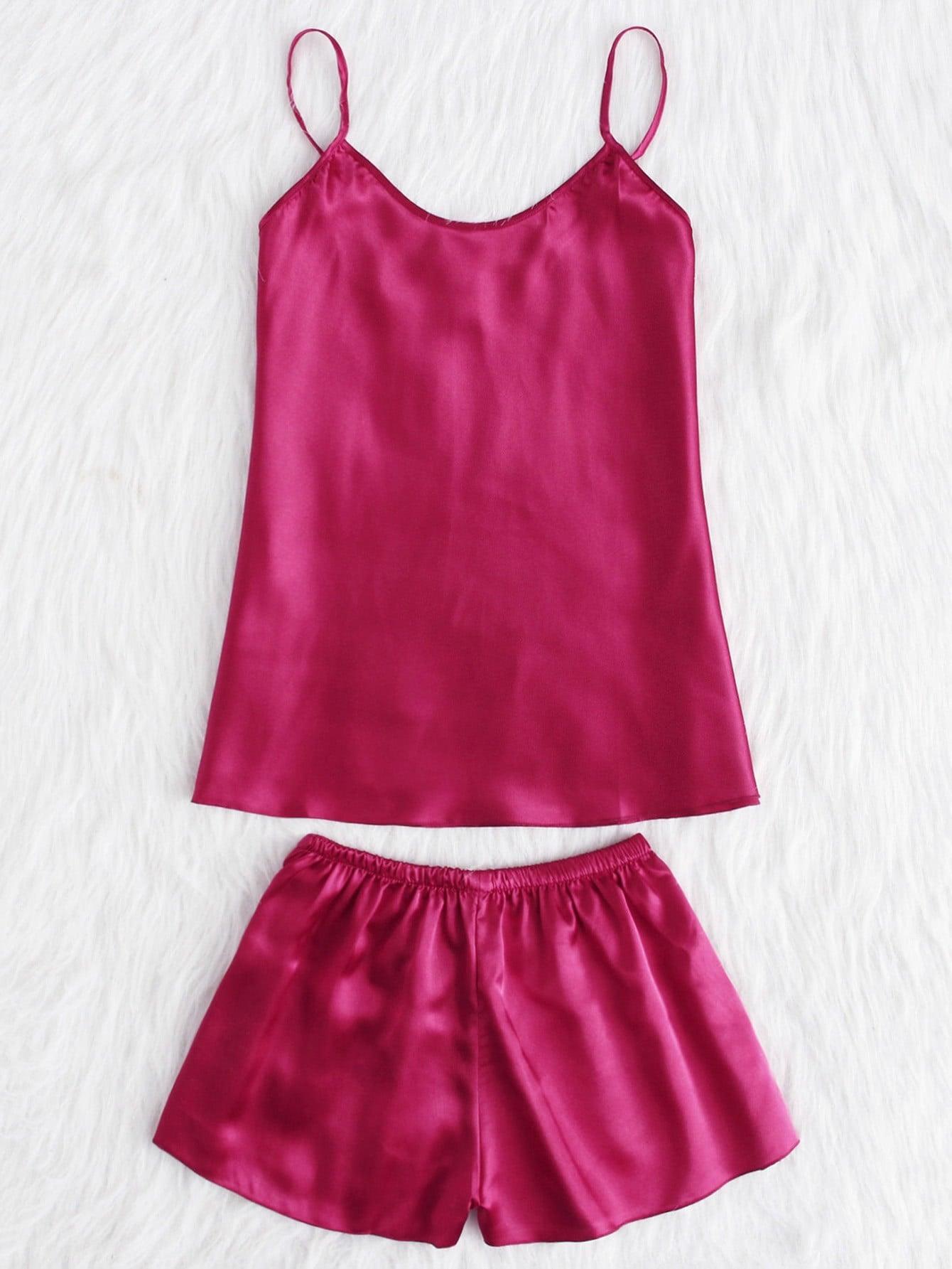Satin Cami And Shorts Pajama Set lace trim satin cami and shorts pajama set