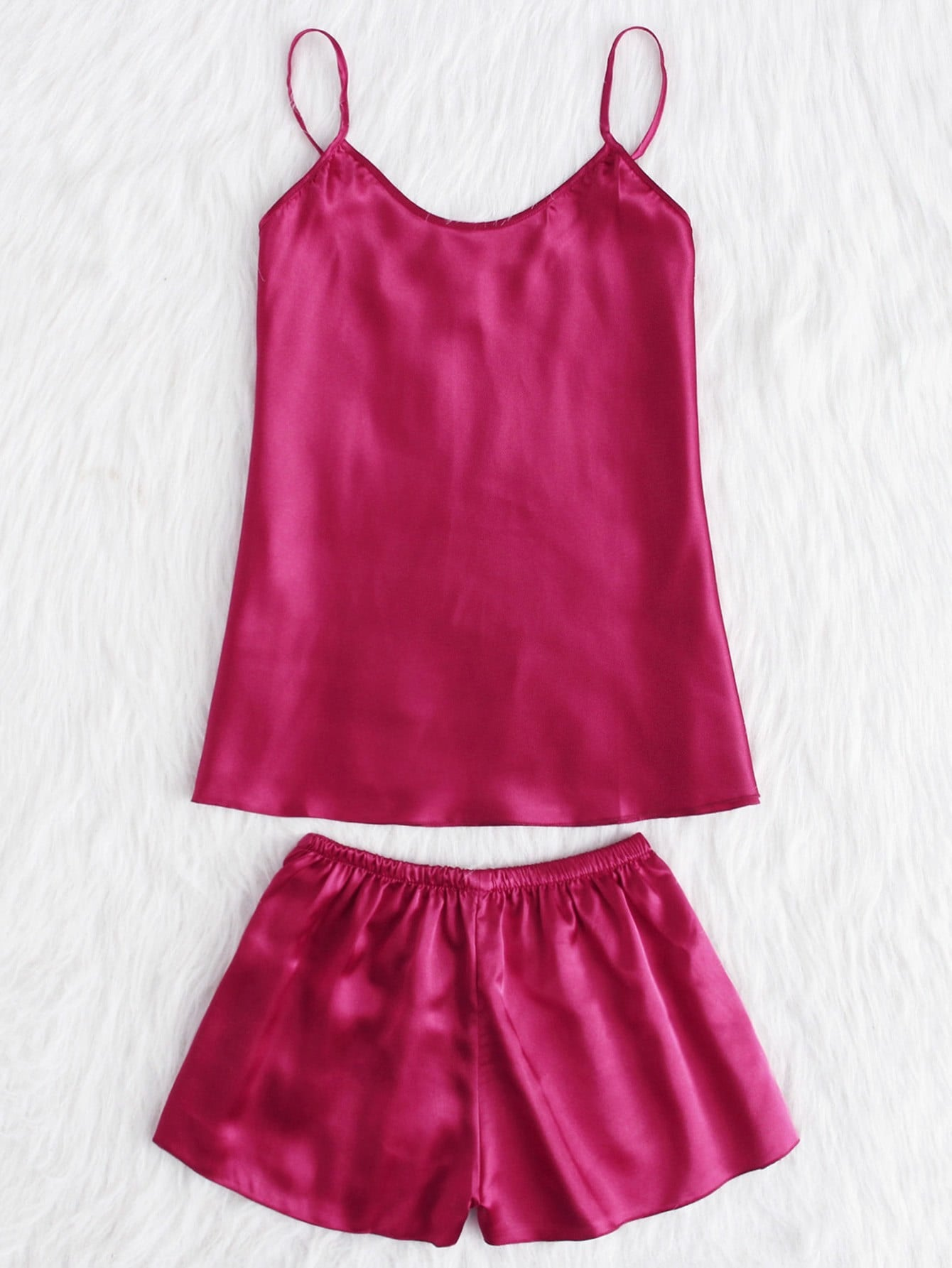 Satin Cami And Shorts Pajama Set