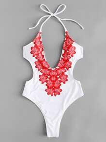 Flower Print Backless Swimsuit
