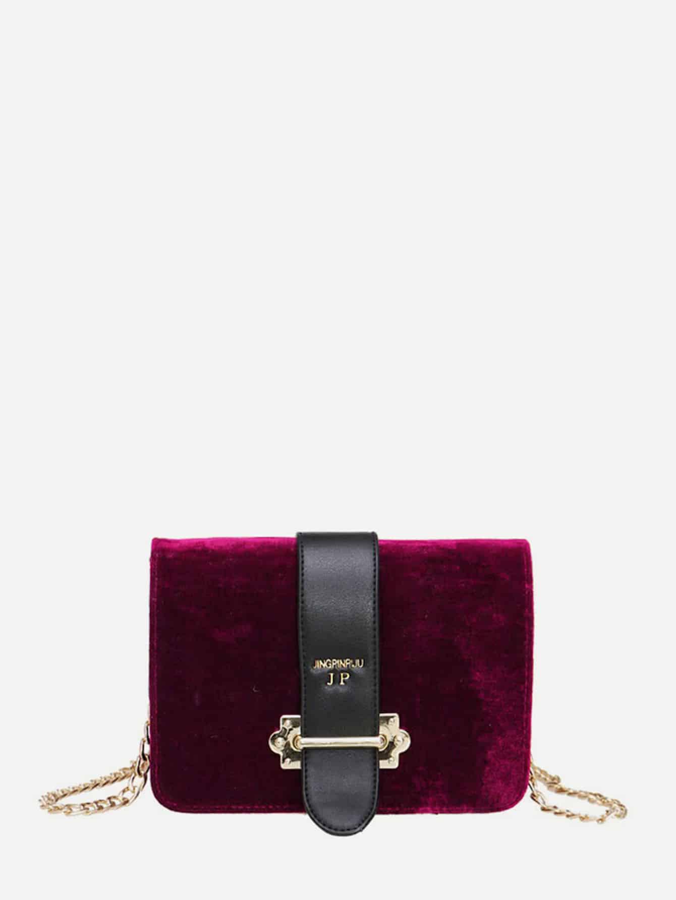 Velvet Chain Flap Bag tassel decorated velvet chain flap bag
