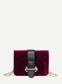 Velvet Chain Flap Bag