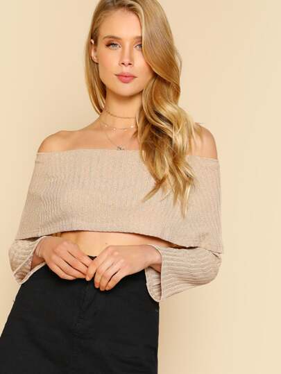 Fold Over Off Shoulder Crop Top