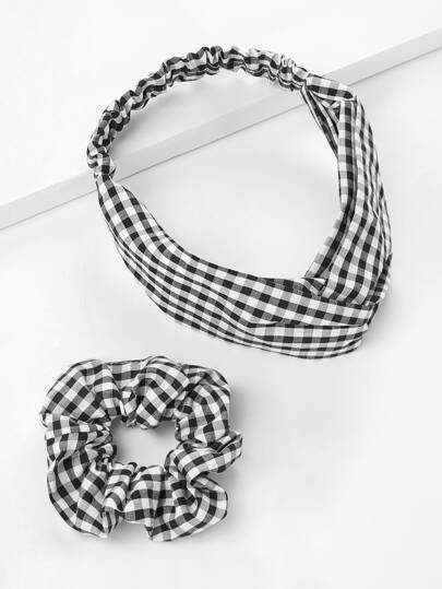 Gingham Print Headband & Hair Tie