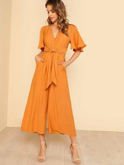 Button Down Wide Leg Jumpsuit with Waist Tie HONEY