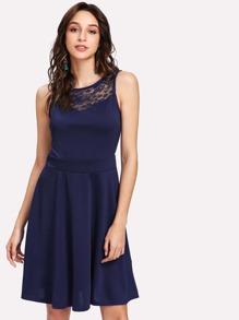 Floral Lace Insert Skater Dress
