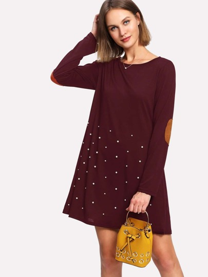 Pearl Beading Elbow Patch Dress