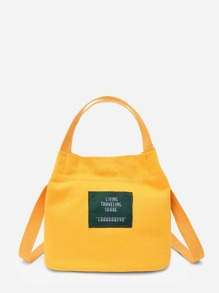 Letter Print Canvas Handbag