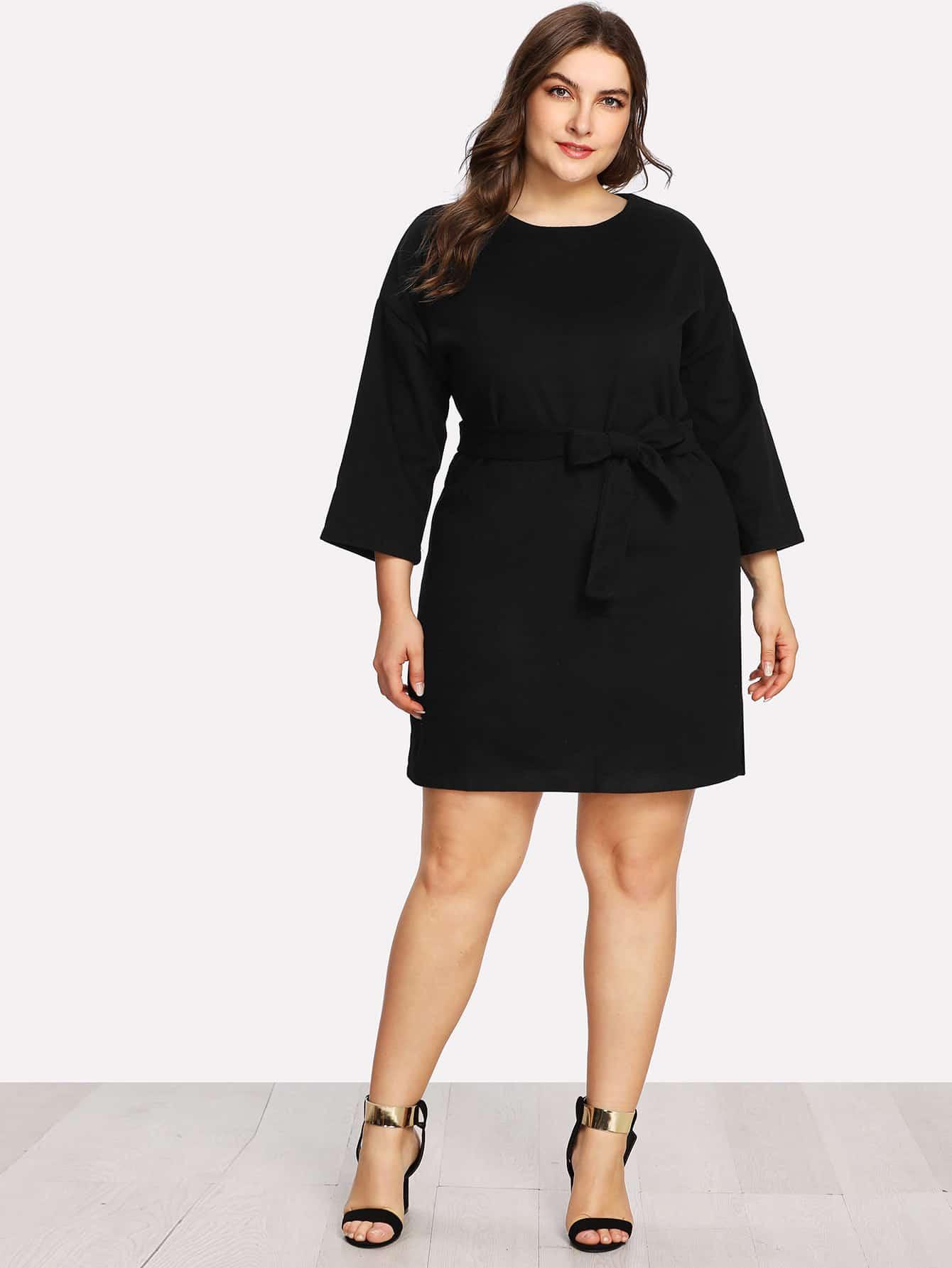 Drop Shoulder Slit Side Belted Dress