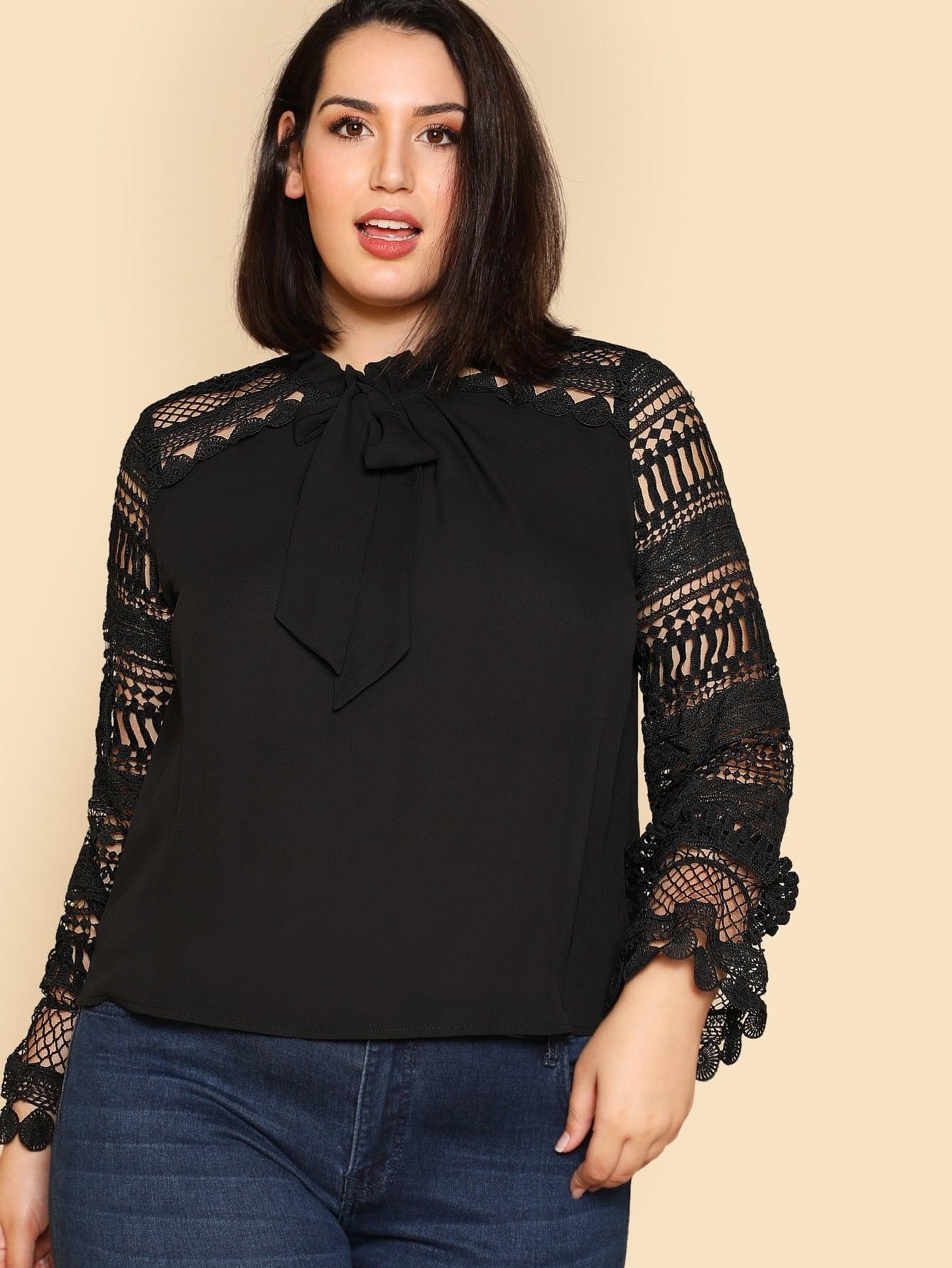 Plus Tie Neck Geo Lace Sleeve Blouse tie neck lace detail cape sleeve blouse