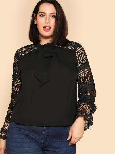 Tie Neck Geo Lace Sleeve Blouse