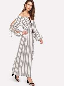 Slit Side Tassel Tied Striped Dress