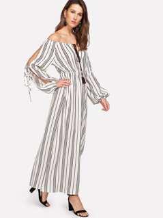 Slit Side Tassel Tied Striped Dress
