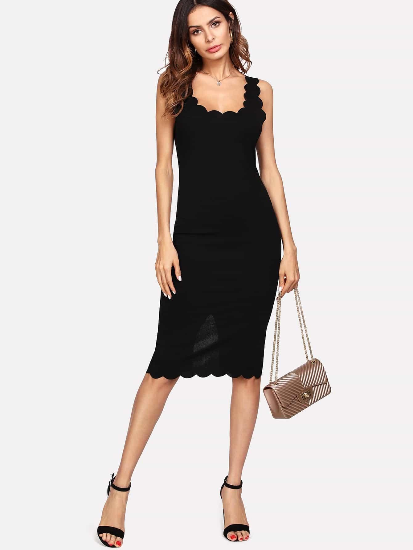 Купить Модное платье с вырезом и фестонами, Andy, SheIn