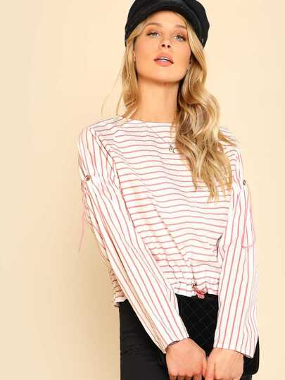 Drawstring Sleeve And Hem Striped Top