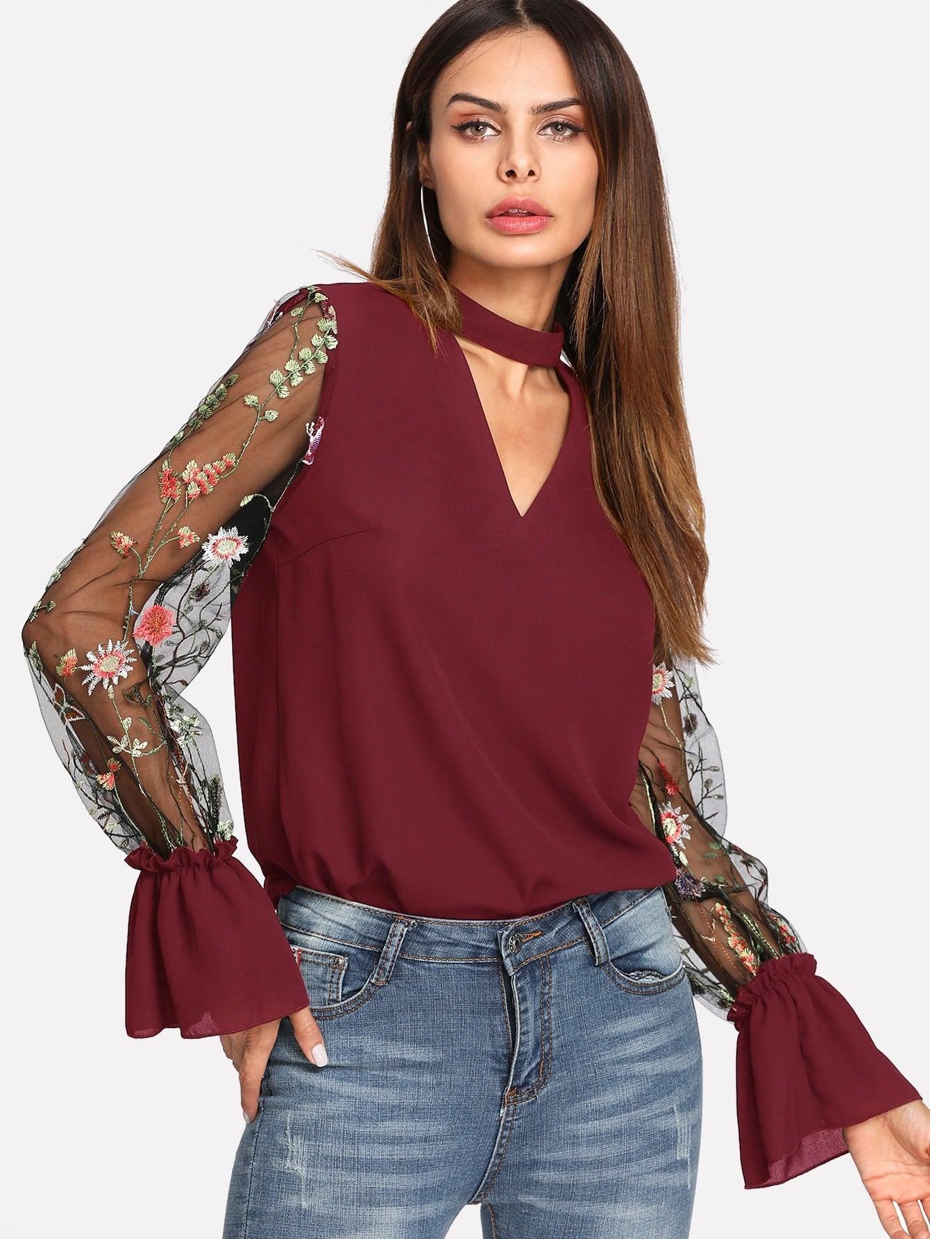 все цены на Embroidered Mesh Sleeve Choker Neck Blouse